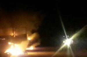 فیلم/ هدف قرار گرفتن سه خودروی نظامیان آمریکایی در عراق