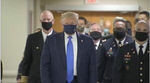 فیلم/ ترامپ بالاخره با ماسک ظاهر شد