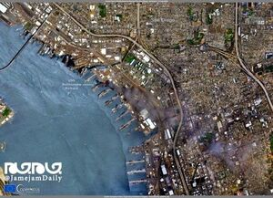 تصویر ماهوارهای از آتش سوزی ناو آمریکایی
