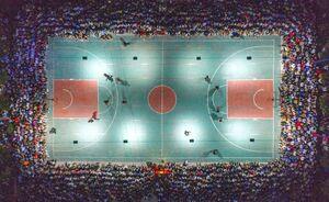 عکس/ برگزاری مسابقات بسکتبال زیرسایه کرونا