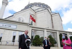 حضور اروغان در مسجد ایا صوفیه استانبول
