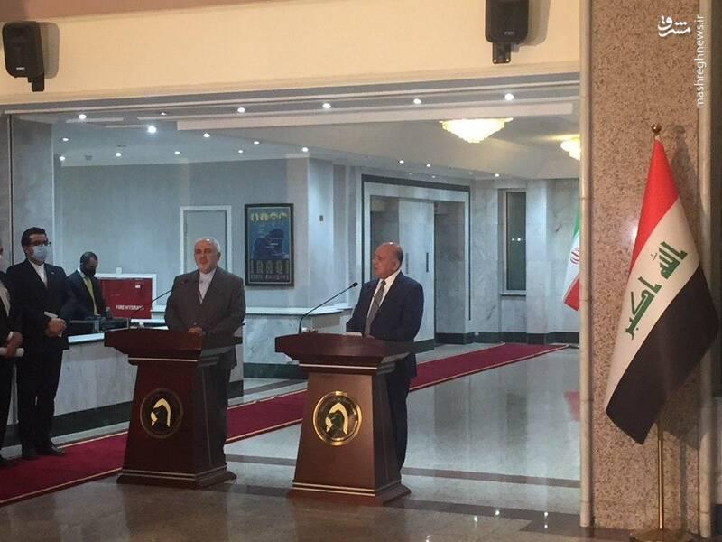 کنفرانس خبری وزرای امور خارجه ایران و عراق در ساختمان وزارت خارجه در بغداد