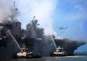 عواقب سنگین آتشسوزی ناو آمریکایی بر ناوگان اقیانوسیه