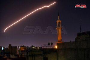 مقابله پدافند هوایی ارتش سوریه به حمله اسرائیل