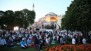 فیلم/ نماز عید قربان در مسجد ایاصوفیه استانبول