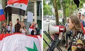 تجمع اعتراضی مقابل سفارت آمریکا در بروکسل در مخالفت با تحریم سوریه