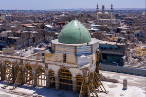 عکس/ آخرین وضعیت بازسازی مسجد نوری موصل
