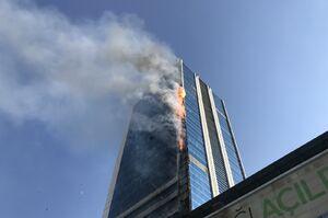 عکس/ آتش سوزی بزرگ در یک مرکز خرید آنکارا