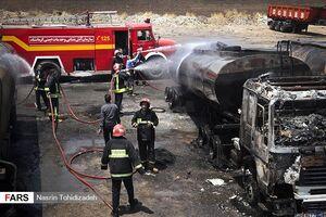 عکس/ انفجار در پارکینگ تانکرهای سوخت