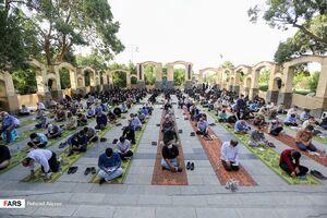 عکس/ قرائت دعای عرفه با رعایت فاصلهگذاری در همدان
