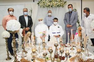 عکس/ مراسم عقد دو پرستار اهوازی در شراط کرونایی