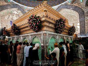 عکس/ گل آرایی ضریح مبارک امام علی (ع)