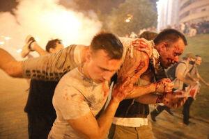 عکس/ درگیری خونین معترضان نتیجه انتخابات بلاروس