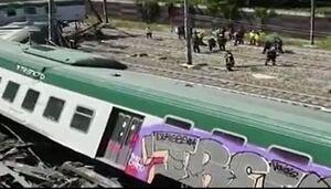 فیلم/ خروج قطار از ریل در ایتالیا