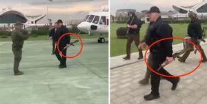لوکاشنکو با جلیقه ضد گلوله و اسلحه به دست در خیابانها +فیلم