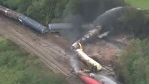 فیلم/ سانحهای بزرگ برای قطار باری