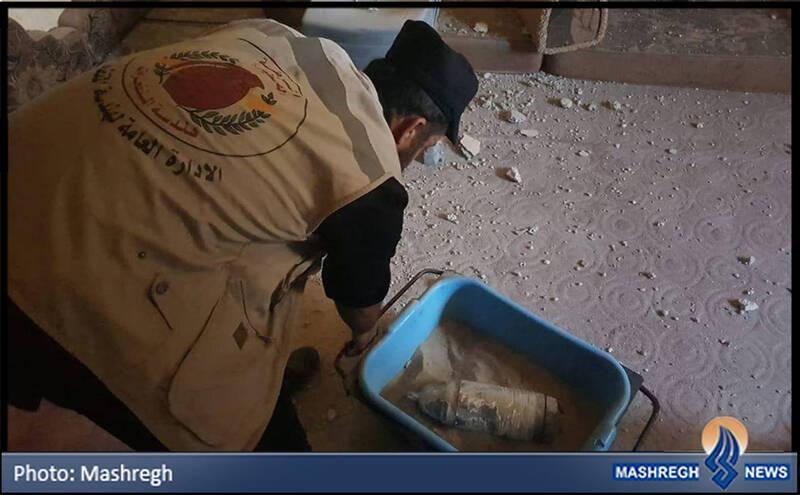 گلوله عمل نکرده توپ در خانه یک فلسطینی