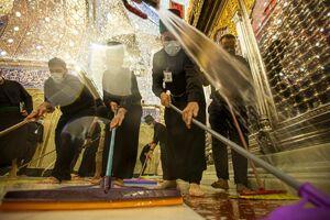 عکس/ شستشوی ضریح مطهر حضرت عباس(ع)