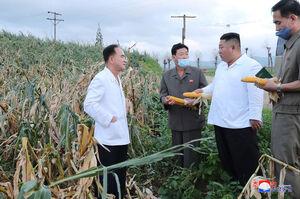 عکس/ بازید «اون» از مناطق طوفان زده کره شمالی