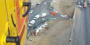 واژگونى اتوبوس در آزادراه کرج-قزوین/ 2 کشته و 25 مصدوم