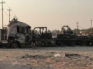 عکس/ حمله به کاروان نظامیان آمریکایی در بغداد