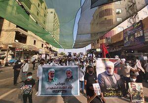 تجمع ضدآمریکایی در کربلا با تصاویر حاج قاسم سلیمانی و ابومهدی المهندس+فیلم