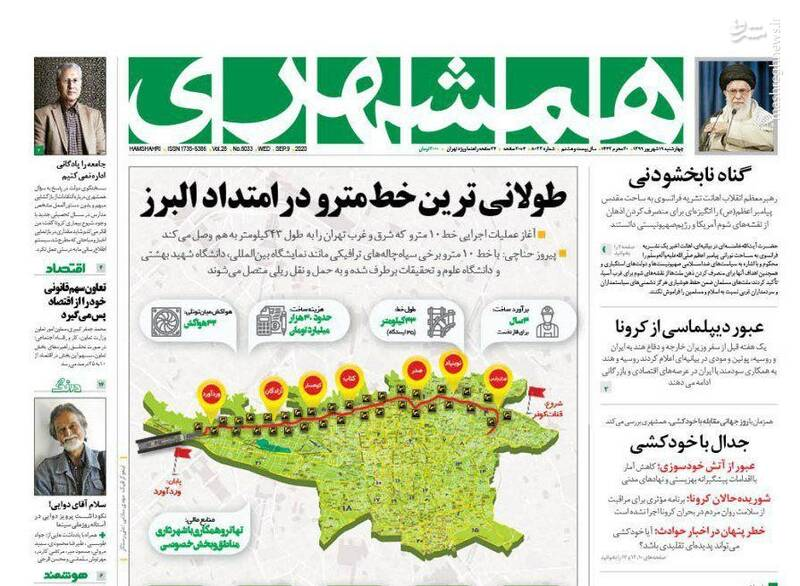 همشهری: طولانیترین خط مترو در امتداد البرز