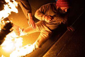آتش گرفتن یک معترض در اعتراضات آمریکا