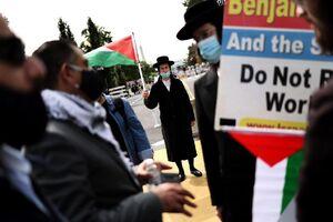 تظاهرات یهودیان ضدصهیونیسم در امریکا علیه توافق عادی سازی روابط با اسرائیل مقابل کاخ سفید