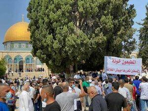 عکس/ اعتراض به توافقهای ننگین با اسرائیل در مسجدالاقصی