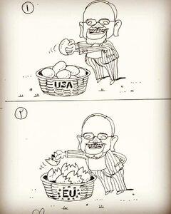 کاریکاتور/ تخممرغهای ظریف در سبد اروپا!