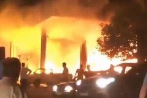 فیلم/آتش سوزی پمپ بنزین تاکستان
