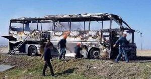 عکس/ حمله پهپادی به اتوبوس نیروهای ارمنی