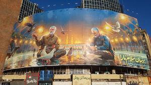 تصویر حاج قاسم و ابومهدی در دیوارنگاره میدان ولیعصر