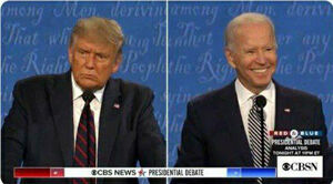تصویری از صحنه آخر مناظره بایدن و ترامپ