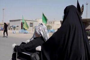 معلول عاشق با اراده آهنین در پیادهروی اربعین +عکس