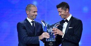فیلم/ لحظه اهدای جایزه مرد سال اروپا به لواندوفسکی