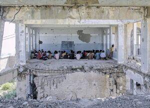 کلاس درس اهدایی وهابیها به کودکان یمنی +عکس