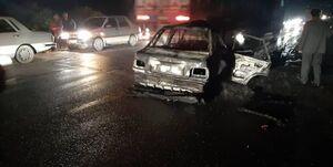تصادف پراید با تراکتور در جاده مشگین شهر