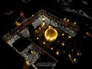 تصاویر هوایی از حرم علوی در شب رحلت پیامبر(ص)