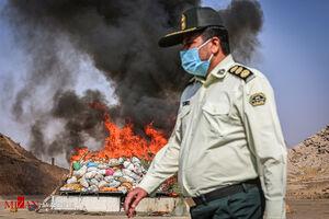عکس/ امحای ۱۶ تن مواد مخدر در مشهد