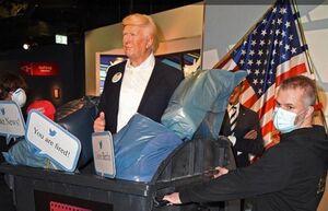 مجسمه ترامپ داخل سطل زباله