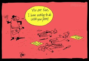 کاریکاتور/ آزادی بیان برای منکران هولوکاست