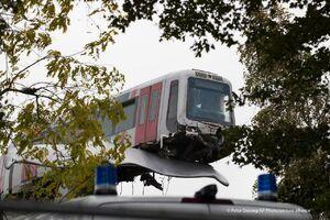 عکس/ مجسمهای که مانع سقوط قطار شد