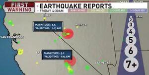 وقوع زمینلرزه در نوادا و کالیفرنیا به فاصله 30 ثانیه از یکدیگر