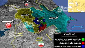 آرایش جدید در منطقه قفقاز پس از پایان جنگ ۴۵ روزه/ تسلط نیروهای آذربایجان بر ۷۰ درصد از خاک «قره باغ» + نقشه میدانی و عکس