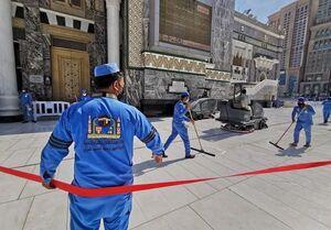 عکس/ ضدعفونی روزانه مسجدالحرام