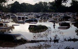 عکس/ صحنهای عجیب از دفن شدن خودروها در سیلاب