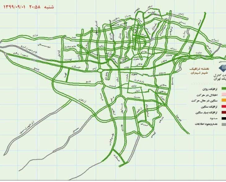 وضعیت ترافیک بزرگراه ها