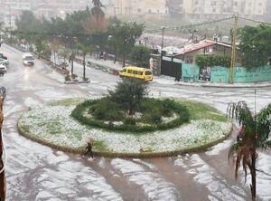 عکس/ بارش تگرگ در لبنان